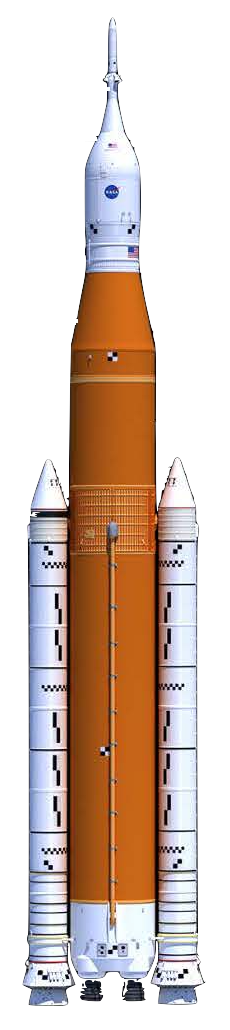 Render of NASA's Space Launch System rocket.