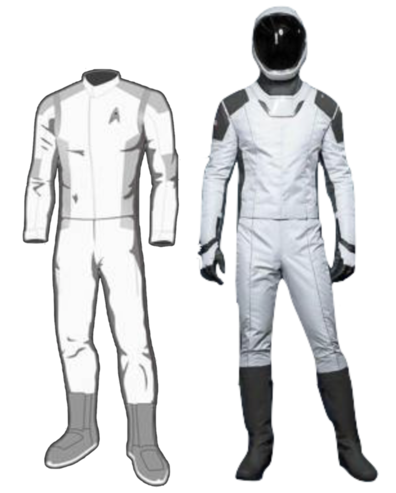 An illustration of Star Trek: Discovery's medical Starfleet uniform (right), next to SpaceX's IVA suit design.