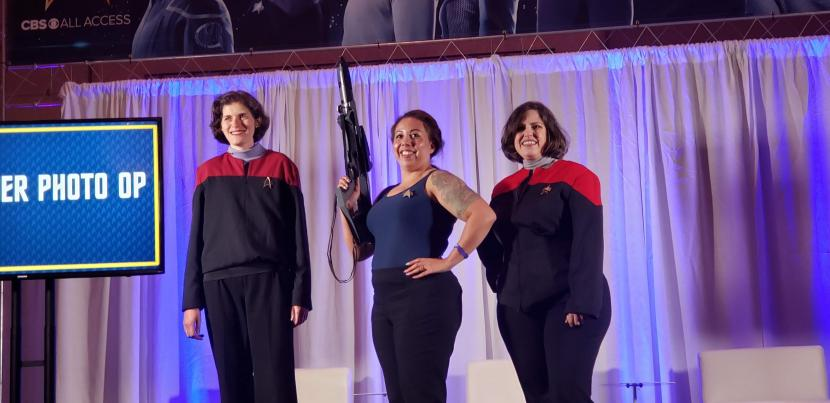The Janeway cosplayers take the stage at the Voyager cosplay meetup