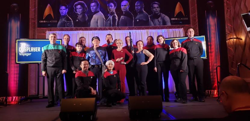 The Voyager cosplay group poses for a photo