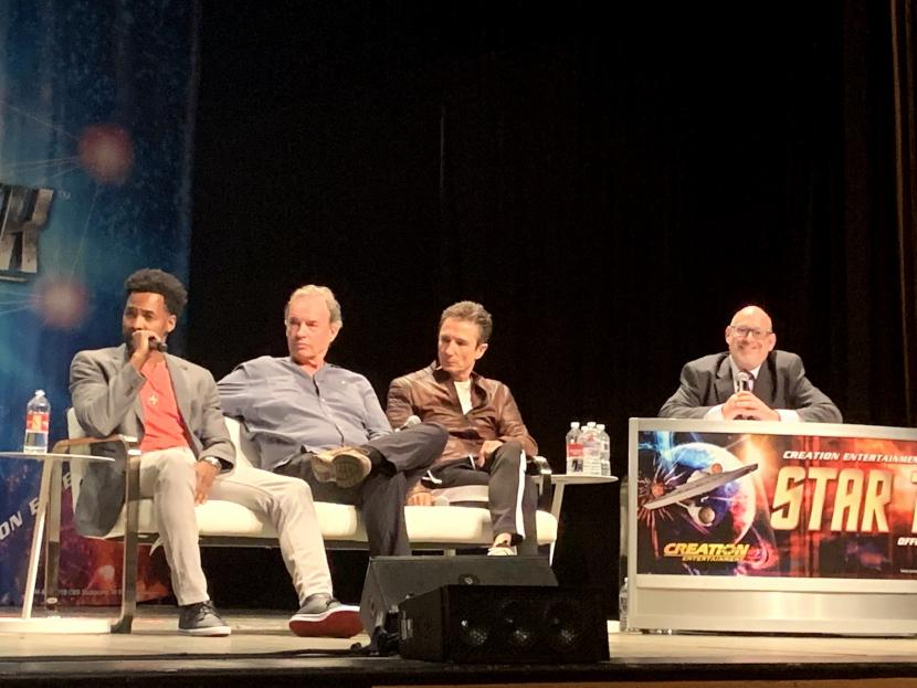 Anthony Montgomery, Gary Graham, and Dominic Keating chat with moderator Ian Spelling