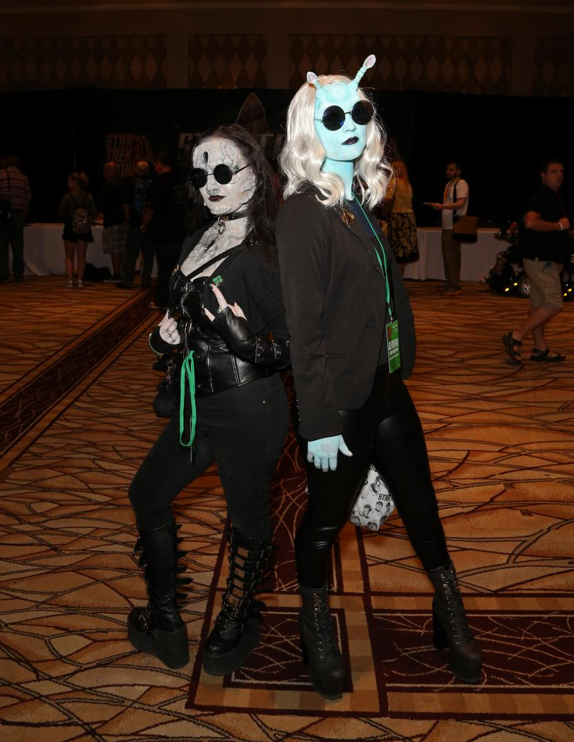 Cosplayers debut their Punk Andorian and Goth Cardassian looks;