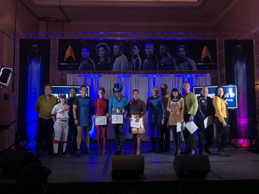 Cosplayers pose at the Trek costume photo-call