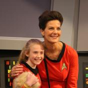 Terry Farrell greets a young fan